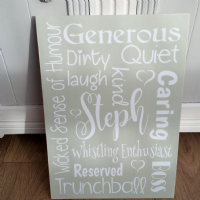 A Personalised Handmade Friendship Typographic Board